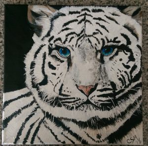 Acrylic Painting - White Tiger
